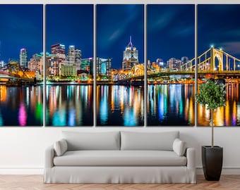 Pittsburgh Wall Art Pittsburgh Canvas Print Pittsburgh Cityscape Pittsburgh Skyline Pittsburgh Skyscraper Pittsburgh Pennsylvania Wall Art