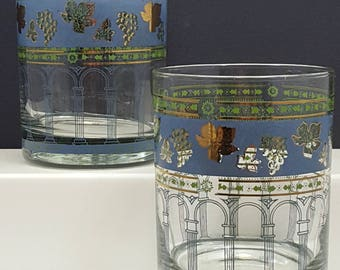 Vintage Cera Golden Grapes Blue Double Old Fashioned Glasses Set of 2 Rocks Glasses Mid Century