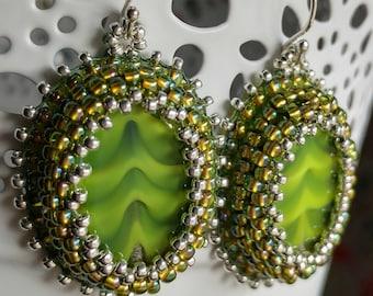 Green Swirl Glass and Bead Earrings