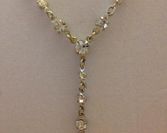 """Vintage Crystal """"Y"""" Necklace"""