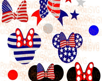 Minnie Mouse Bows svg, Disney svg,4th july,american flag minnie mouse bow , minnie mouse bowtique,T-shirt design, Mickey Mouse Svg cut file