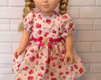 """ON SALE!  Was 12.00, Now only 10.00! Pink and red Valentine heart dress for 18"""" doll"""