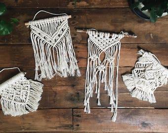 Mini Macrame Wall Hangings | Driftwood Macrame | Small Macrame Hangings | Fiber Art | Wall Decor | Bohemian Decor | Boho Home |