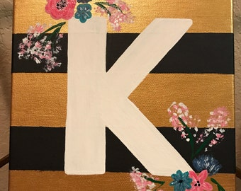 Letter K Painted Canvas