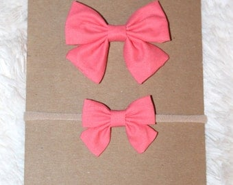 Coral sailor bow clip or headband; regular or mini size