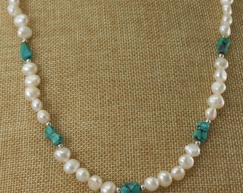 Fresh water pearl necklace with turquoise accents
