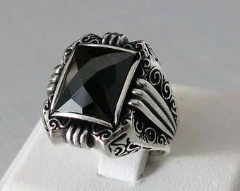Handmade 925 Sterling Silver Black Zircon STONES Men's RING #C66