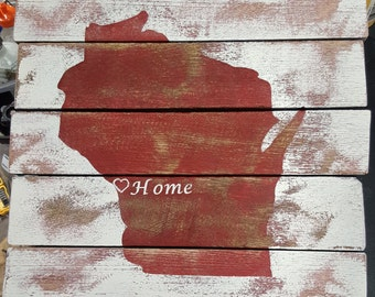 Rustic Barnboard Wisconsin Home Sign