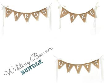 Rustic Wedding Signage, Set of 3 Burlap Banners, Vintage Wedding Garland, Wedding Banner