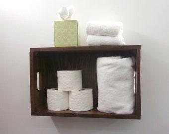 Rustic Beach Bathroom Crate –  Pallet Wood Crate Towel Shelf – Coastal Decor Above Toilet Shelves – Nautical Decor Reclaimed Wood Shelves