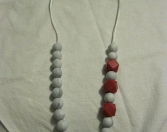Red and Marble Teething/Sensory/Nursing Necklace
