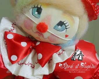 Little Girl Clown Fabric Doll Decor