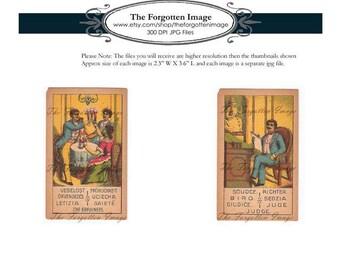 Digital Vintage Tarot Cards, Circa 1900s, Digital Vintage Ephemera, Printable Vintage Tarot Art, Part B - 11 Cards