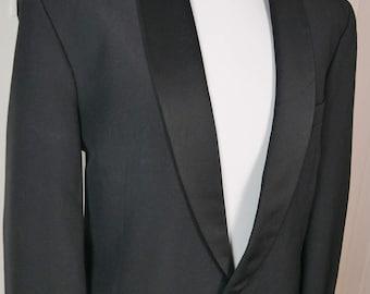 European Vintage Tuxedo Jacket, Black Dinner Jacket, 1990s Smoking Jacket, Scan Collection Formal Blazer, Shawl Collar Tux Jacket: Size 42