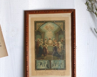 Vintage french certificate of baptism 1912 religious Christian Catholic JESUS CHRIST old baptism certificate religious picture frame