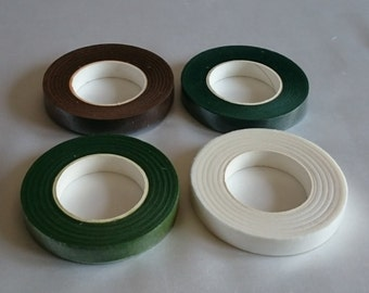 Florist stem tape white, green or brown - corsages, buttonholes, bouquets, floral crafts