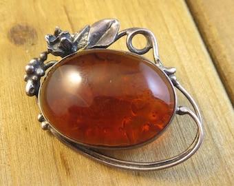 Artisan Vintage Amber Pendant Pin Sterling Silver Brooch Antique 11.3 Grams