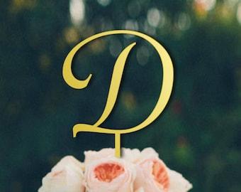 Letter D Cake Topper, Gold Cake Topper Letter d, Initial Cake Topper, Single Initial Wedding Cake Toppers, Monogram Cake Toppers, CT#027