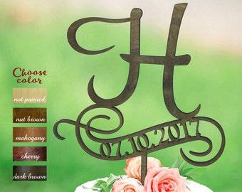 Letter h cake topper, rustic monogram cake topper, letter and date wedding topper, Wood Cake Topper, cake topper h, Cake topper date, CT#096