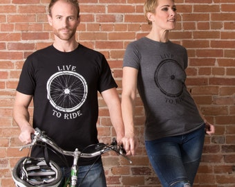 Bicycle T-shirt - Live to Ride Print for Men & Women