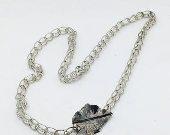 Silver Leaf Chain Necklace - Botanical Jewelry - Hand Forged Silver - Front Closure Necklace - Argentium Chain - Loop in Loop Handmade Chain