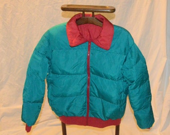 Mens Columbia Reversible Red ad Teal Down Filled Puffy Jacket - Size Extra Large