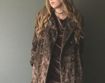 vintage 70s brown crushed VELVETY coat / 1970s vegan PLUSH long faux fur coat / princess coat / faux fur jacket / warm women's winter coat