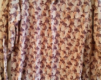 1960's Vintage Men's Large Lapel Shirt - Small 14-14-1/2 - Cool Peter Maxx Style Print