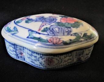 1970s Ceramic Trinket Dish Dresser Item with Lid Decorative Vintage