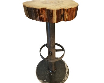 Industrial bar Island high stool float maple wood and steel • wood and steel