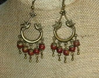Lovebird Earrings (Red Jasper)
