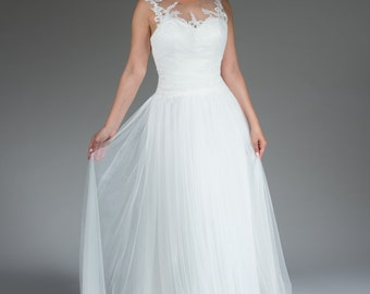 Tulle and lace wedding gown with illusion back