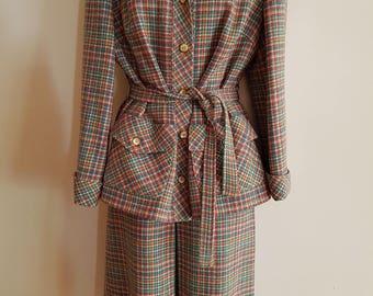 70s 80s Vintage Retro Pastel Wool Plaid Tweed Skirt Suit