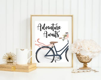 Adventure Awaits Bicycle Floral Print Adventure Poster Bicycle Quote Art Bike Art Print Bicycle Art Print Navy Floral Bicycle Travel Print