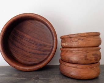Vintage Wooden Salad Bowl Set with 3 Bowls, Serving Bowl Set, 4 piece set