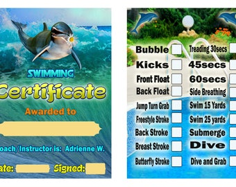 Swimming Certificate with Background, Personalized, Editable Swimming Certificate for swimming coach Swimming Certificate for students