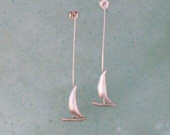 Silver Gold Earring  Boat