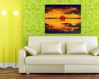 Summer Home Decor - Yellow Acrylic Painting - Sunset Abstract Painting - Painting on Canvas - Living Room Decor -  Palette Knife Painting