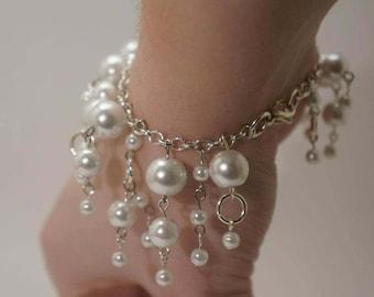 White Pearl Bridal Bracelet, Glass Pearl Bridal Jewelry, Dangling Pearl Bracelet, Bridal Accessories, White Wedding Bracelet