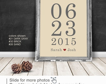 1 Year Anniversary Gift for her, Wedding date sign PRINT/CANVAS/DIGITAL, Anniversary gift husband, Personalized Wedding Gift,1 Year Together