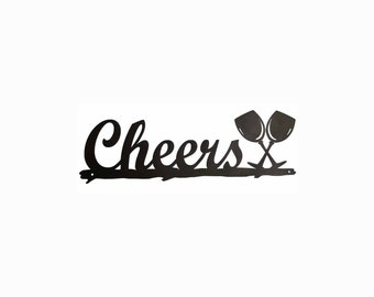 "Metal ""Cheers"" sign. Wall sign. Bar sign. Cheers sign"
