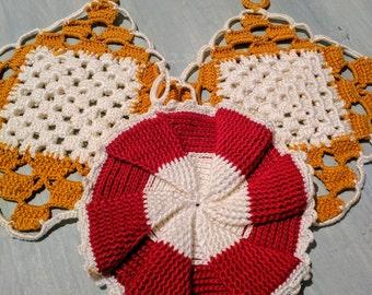 Retro Handmade Crochet & Knitted Potholders x3 | Mustard | Red