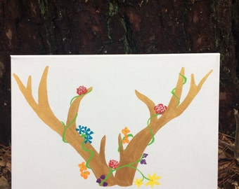 Canvas Painting - Golden Antlers