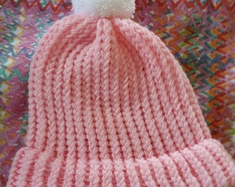 Pink Adult Beanie Hat With White Pom Pom