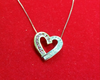 Valentine's Two toned 14k white gold and 14k yellow gold Heart Shaped Genuine Diamond and Pink Sapphire Pendant