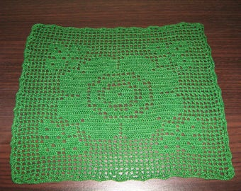 Green Doily with Rose