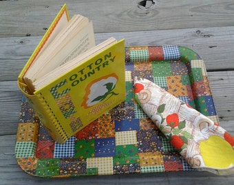 Vintage 1960s Quilt Patchwork Tray