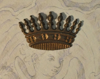Vintage French Crown Stamping Made from Antique Tooling Brass Emblem 1 Piece 185J