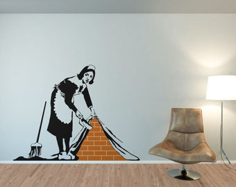Banksy Wall Decal, Banksy Maid, Banksy Wall Decals, Banksy Maid Wall Sticker ,
