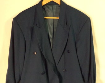 80s structured oversize blue blazer// Long hipster double breasted// Vintage City Streets// Women's size medium large 38
